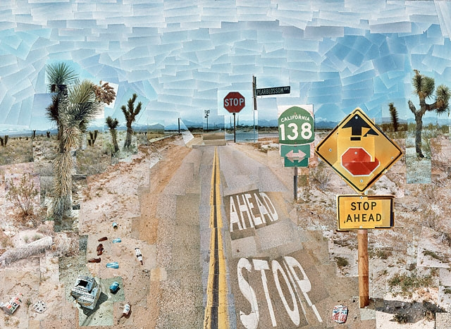 David Hockney's 'Pearblossom Hwy', photographic collage of a Californian highway from 1986 max colson